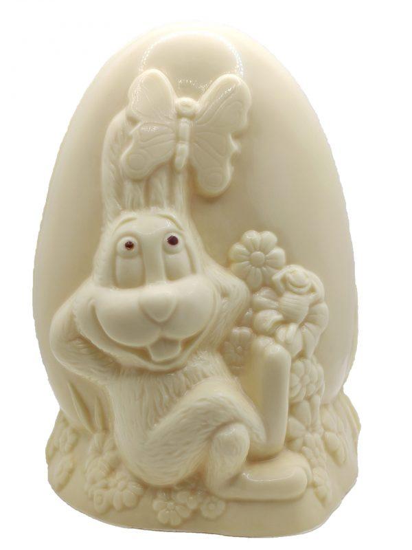 Oeuf en chocolat blanc motif lapin
